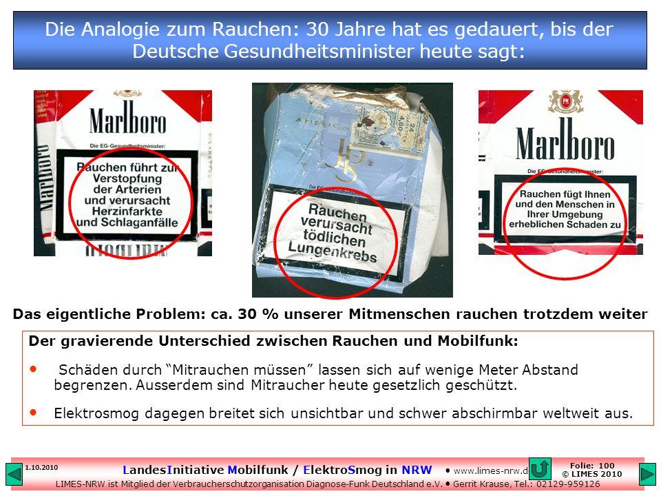 Die Analogie zum Rauchen: 30 Jahre hat es gedauert, bis der Deutsche Gesundheitsminister heute sagt: