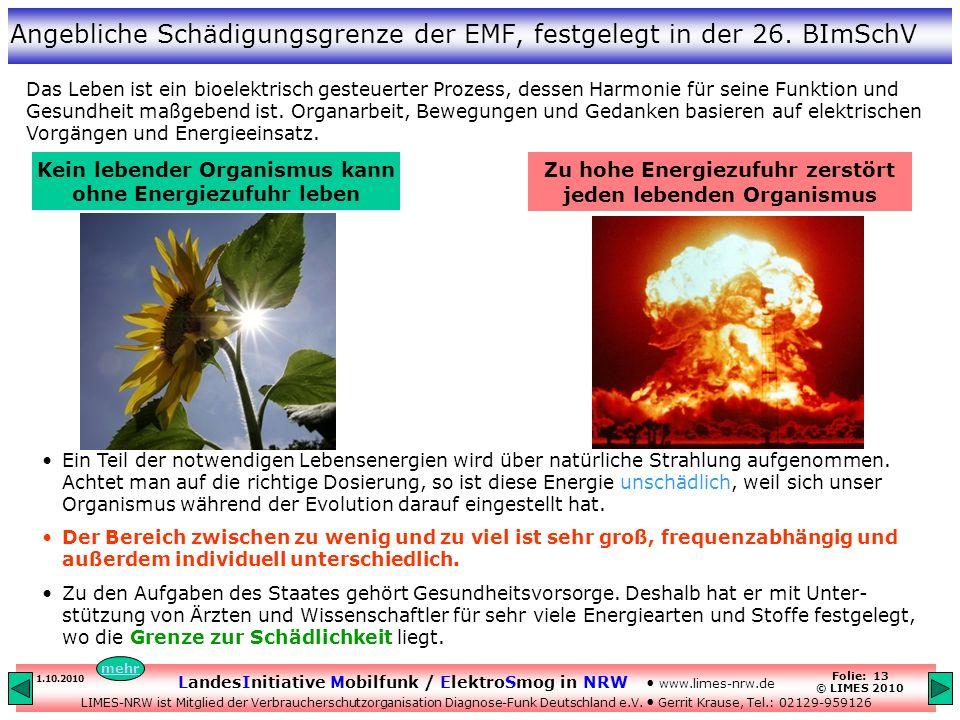 Angebliche Schädigungsgrenze der EMF, festgelegt in der 26. BImSchV