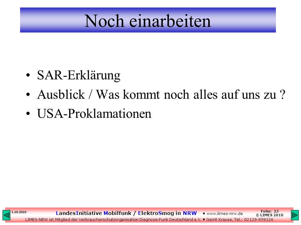 Noch einarbeiten SAR-Erklärung