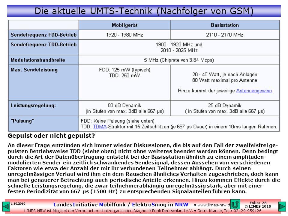 Die aktuelle UMTS-Technik (Nachfolger von GSM)