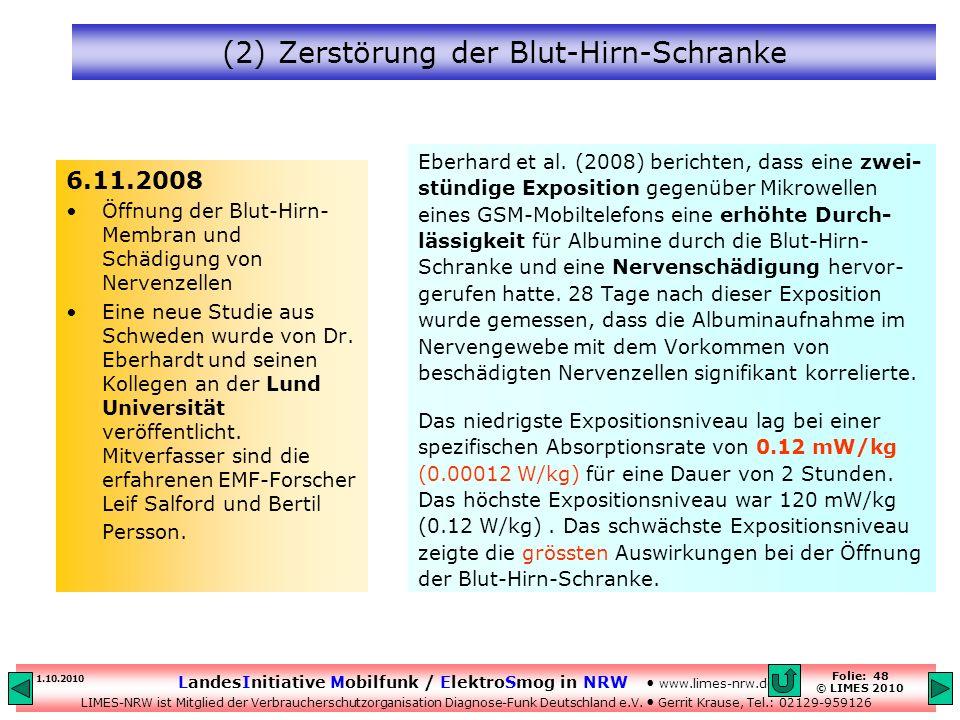 (2) Zerstörung der Blut-Hirn-Schranke