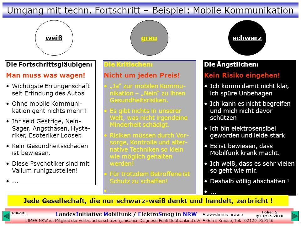 Umgang mit techn. Fortschritt – Beispiel: Mobile Kommunikation
