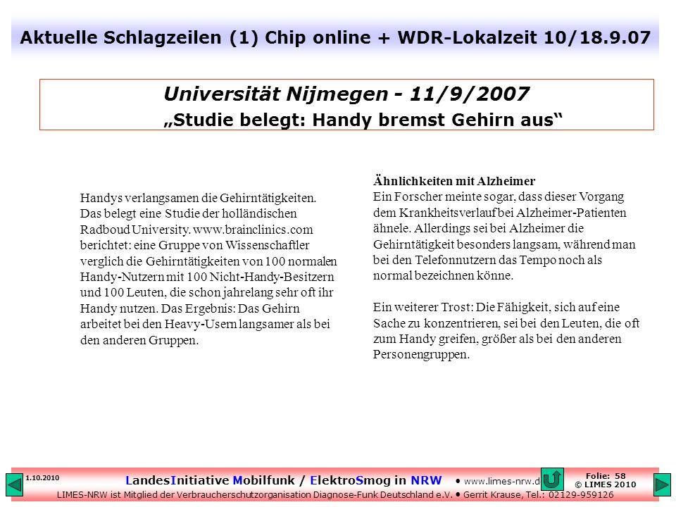 Aktuelle Schlagzeilen (1) Chip online + WDR-Lokalzeit 10/18.9.07