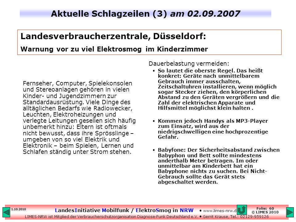 Aktuelle Schlagzeilen (3) am 02.09.2007