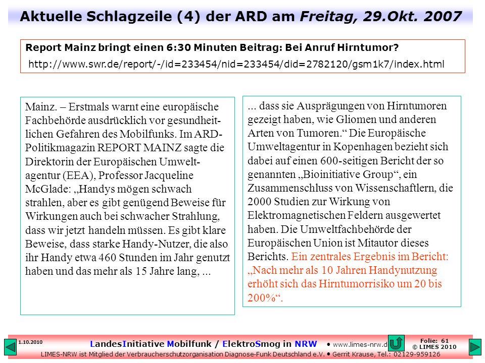 Aktuelle Schlagzeile (4) der ARD am Freitag, 29.Okt. 2007