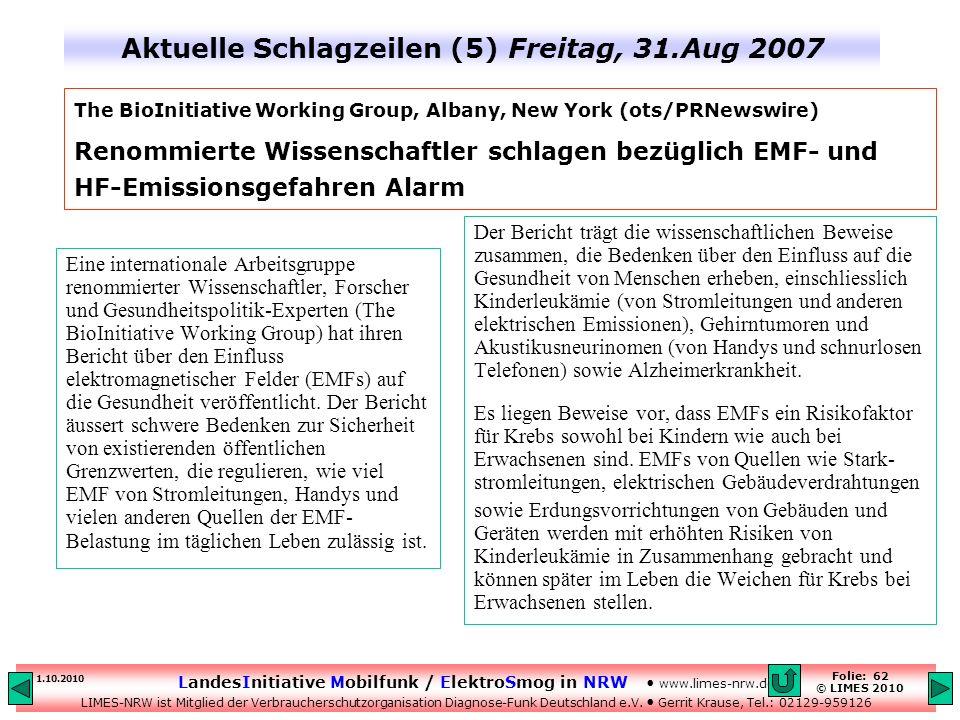 Aktuelle Schlagzeilen (5) Freitag, 31.Aug 2007