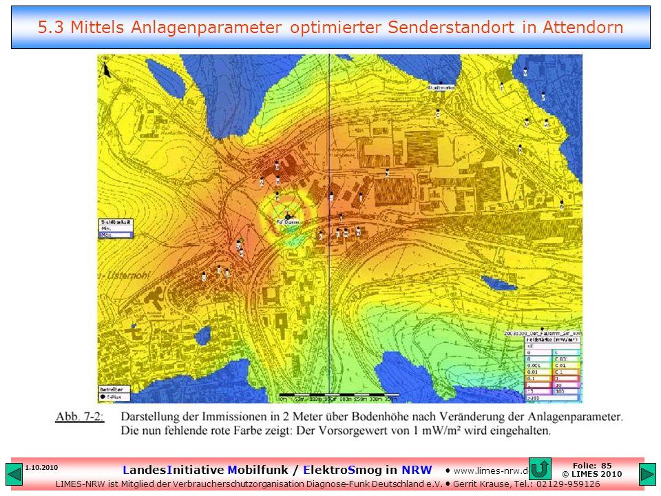 5.3 Mittels Anlagenparameter optimierter Senderstandort in Attendorn