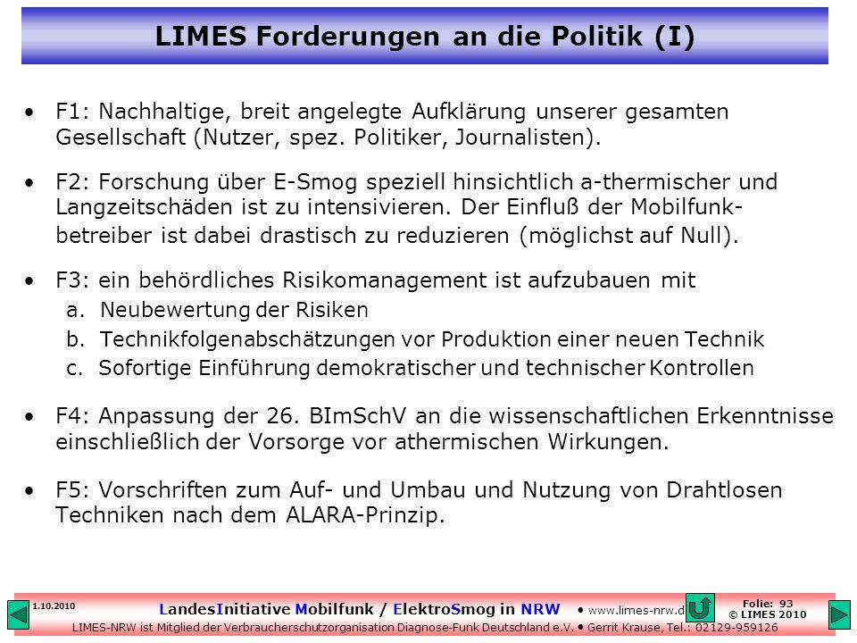 LIMES Forderungen an die Politik (I)