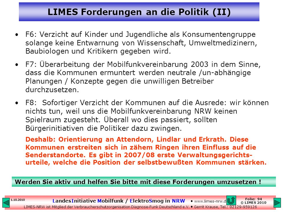 LIMES Forderungen an die Politik (II)