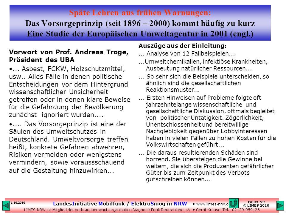Späte Lehren aus frühen Warnungen: Das Vorsorgeprinzip (seit 1896 – 2000) kommt häufig zu kurz Eine Studie der Europäischen Umweltagentur in 2001 (engl.)