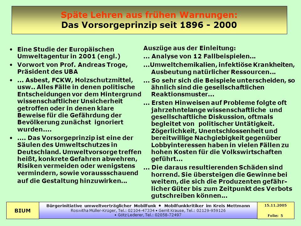 Späte Lehren aus frühen Warnungen: Das Vorsorgeprinzip seit 1896 - 2000