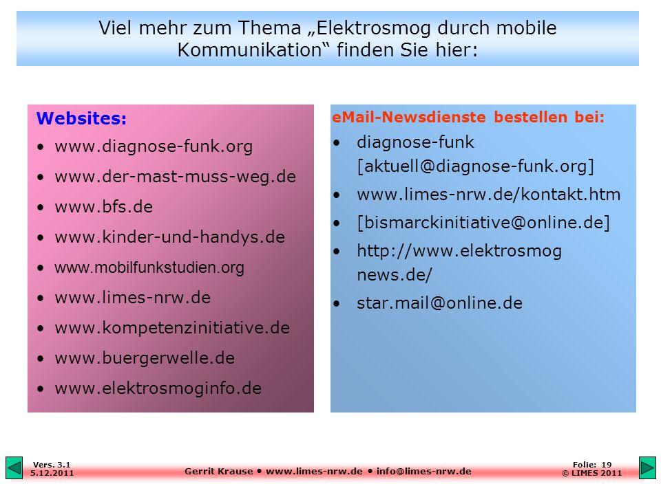 """Viel mehr zum Thema """"Elektrosmog durch mobile Kommunikation finden Sie hier:"""