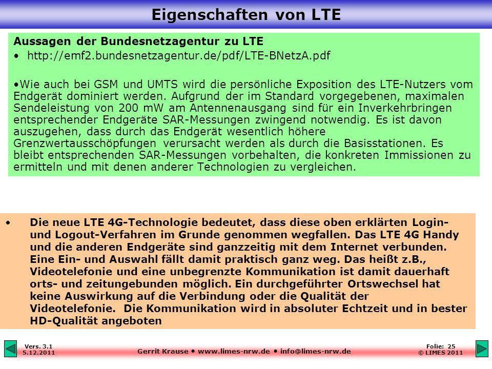 Eigenschaften von LTE Aussagen der Bundesnetzagentur zu LTE
