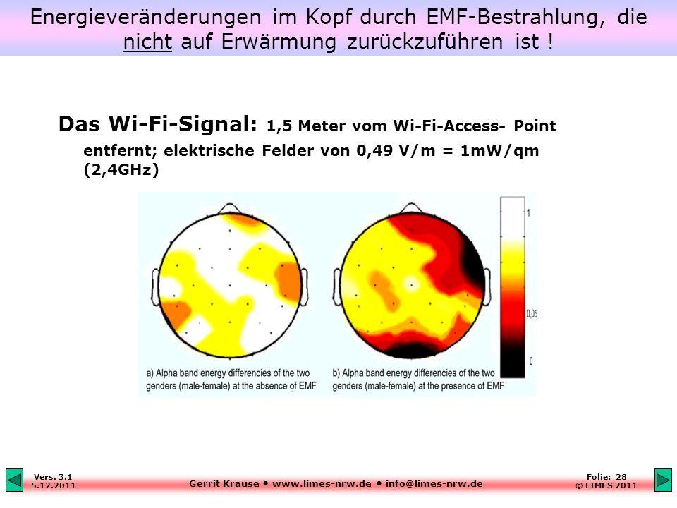 Energieveränderungen im Kopf durch EMF-Bestrahlung, die nicht auf Erwärmung zurückzuführen ist !