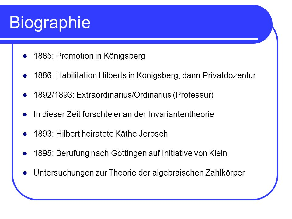 Biographie 1885: Promotion in Königsberg