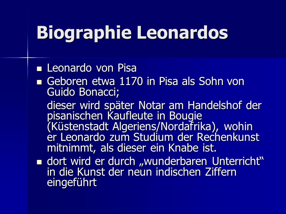Biographie Leonardos Leonardo von Pisa
