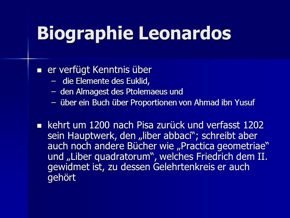 Biographie Leonardos er verfügt Kenntnis über