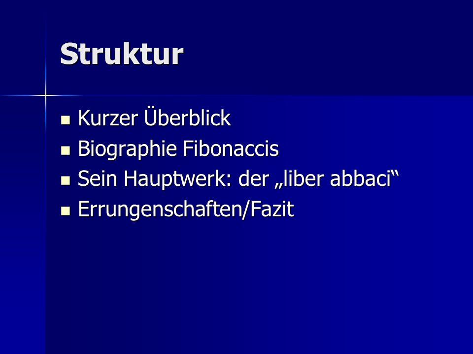 Struktur Kurzer Überblick Biographie Fibonaccis