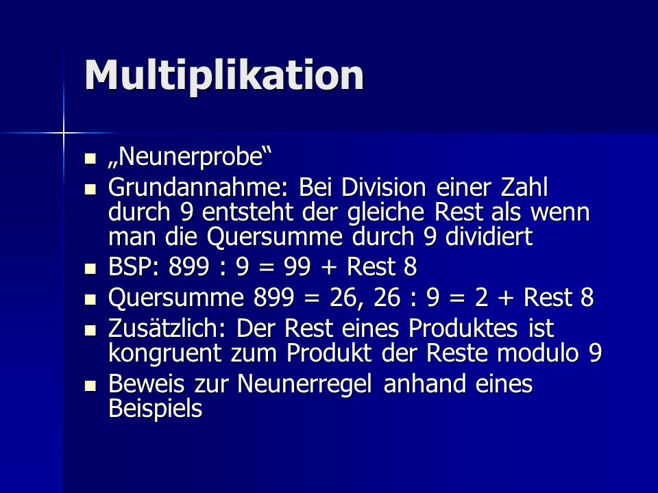 "Multiplikation ""Neunerprobe"