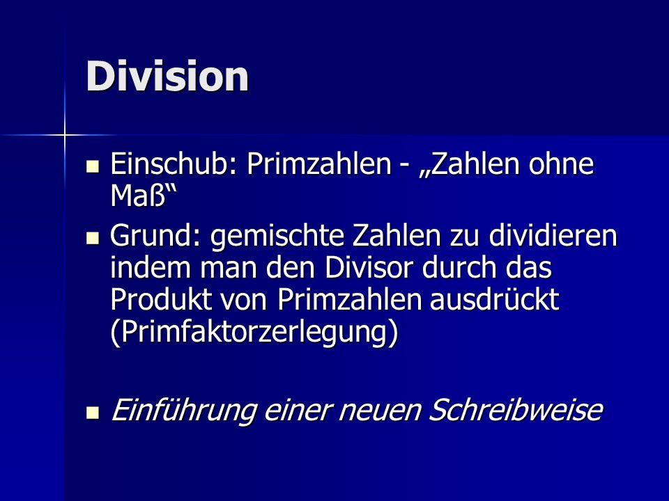 """Division Einschub: Primzahlen - """"Zahlen ohne Maß"""