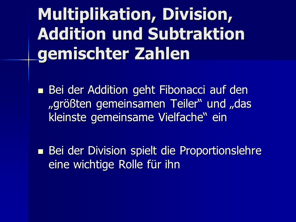 Multiplikation, Division, Addition und Subtraktion gemischter Zahlen