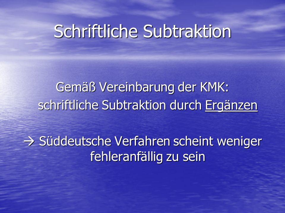 Schriftliche Subtraktion