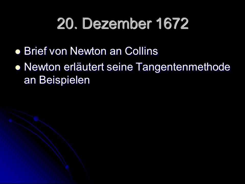 20. Dezember 1672 Brief von Newton an Collins