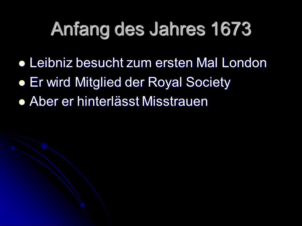 Anfang des Jahres 1673 Leibniz besucht zum ersten Mal London