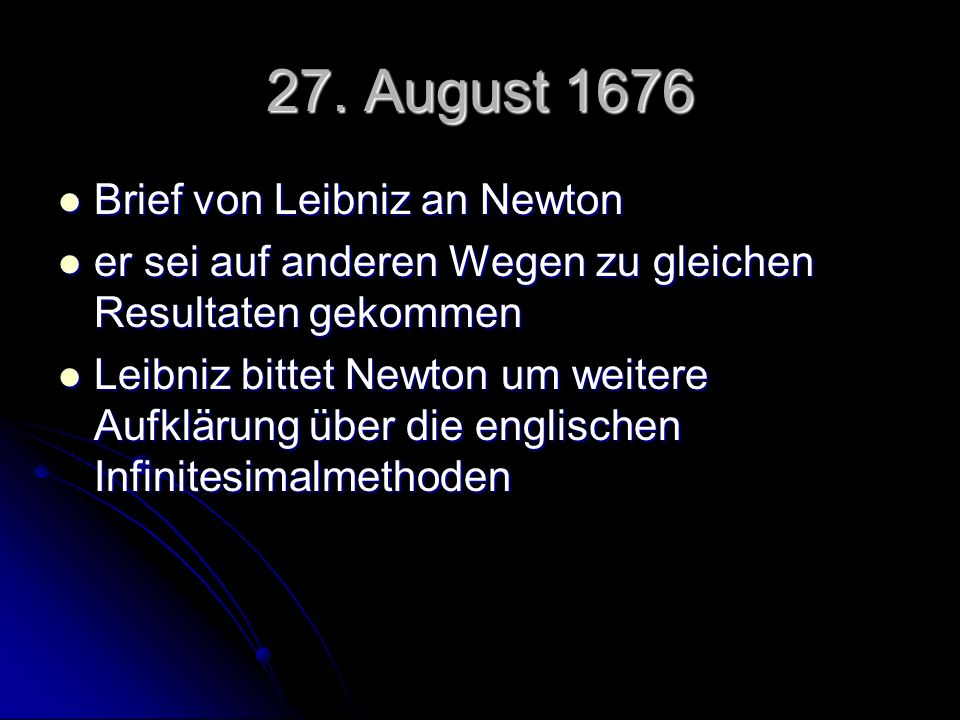 27. August 1676 Brief von Leibniz an Newton