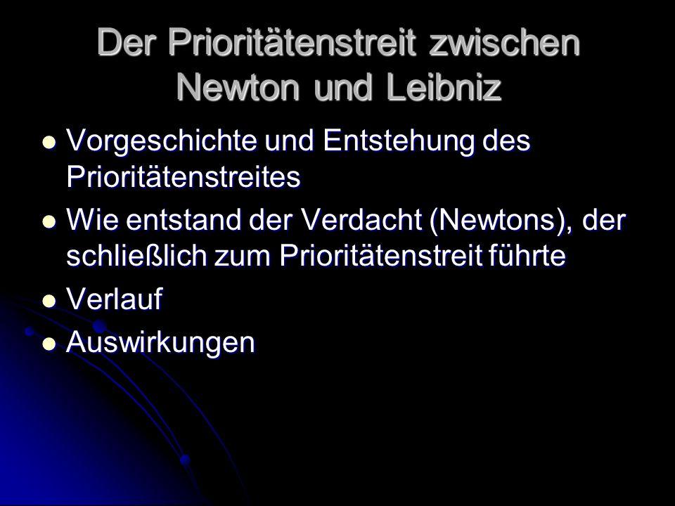 Der Prioritätenstreit zwischen Newton und Leibniz