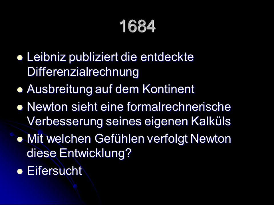 1684 Leibniz publiziert die entdeckte Differenzialrechnung