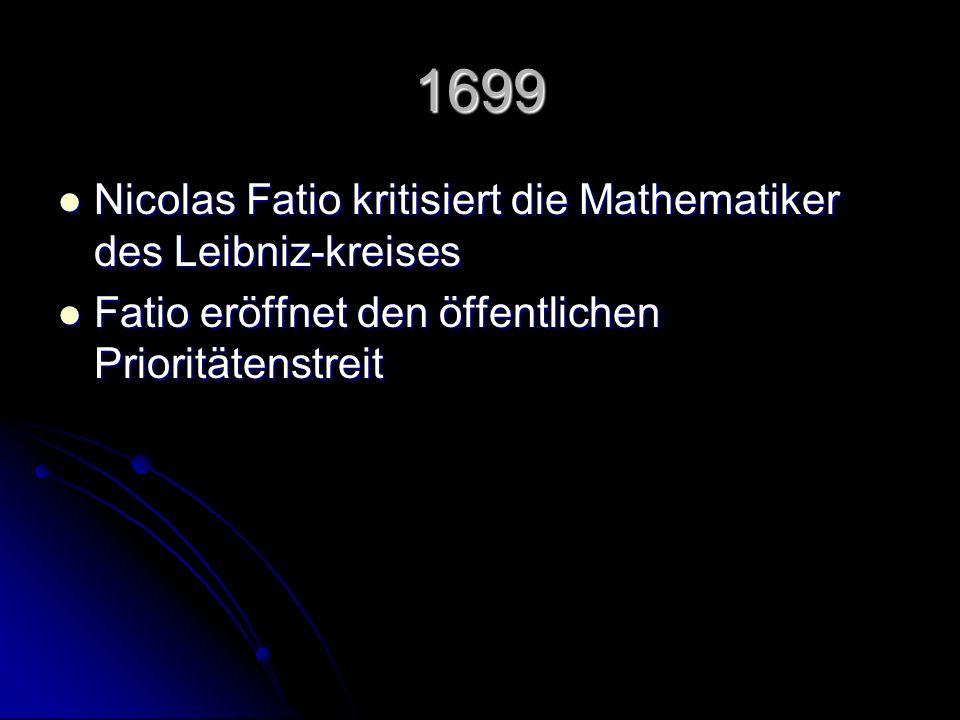 1699 Nicolas Fatio kritisiert die Mathematiker des Leibniz-kreises