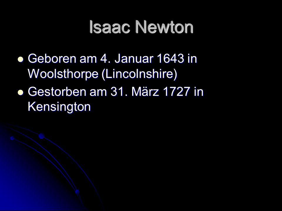 Isaac Newton Geboren am 4. Januar 1643 in Woolsthorpe (Lincolnshire)
