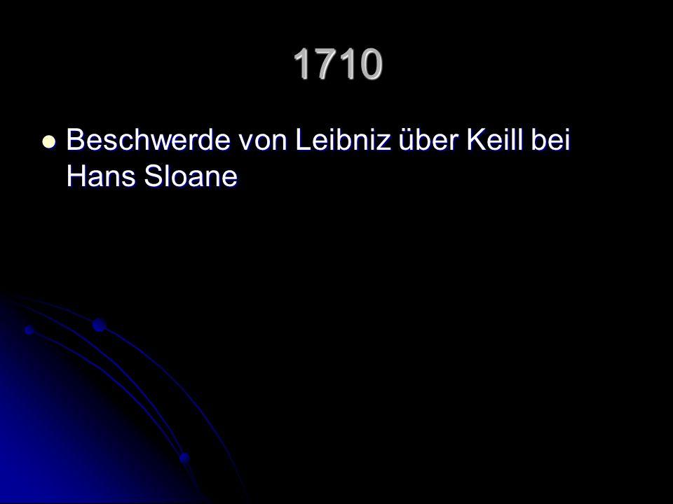 1710 Beschwerde von Leibniz über Keill bei Hans Sloane