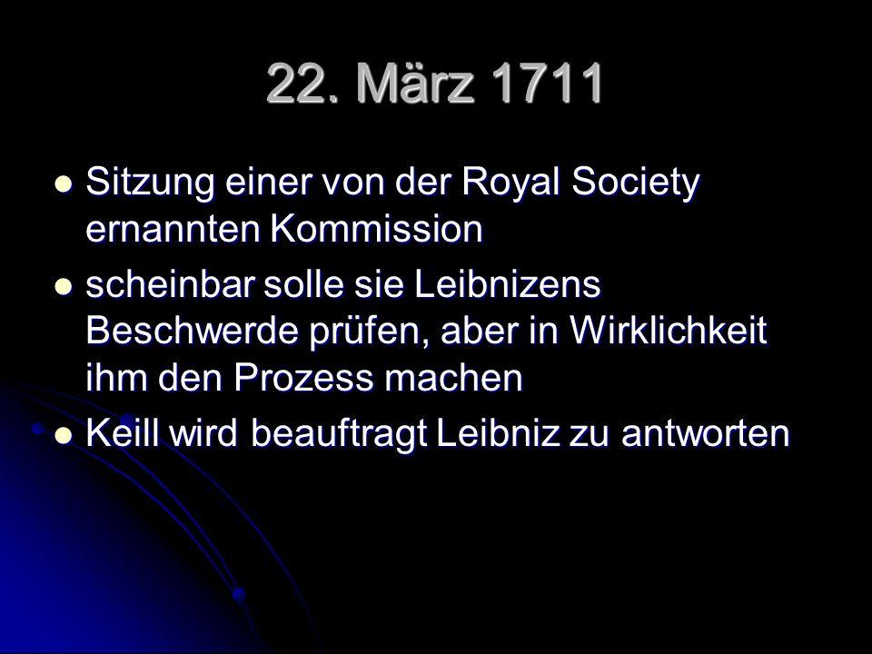 22. März 1711 Sitzung einer von der Royal Society ernannten Kommission