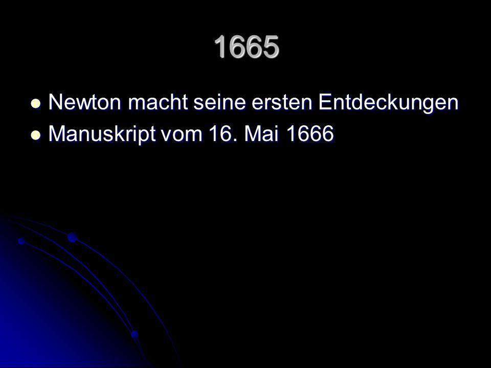 1665 Newton macht seine ersten Entdeckungen