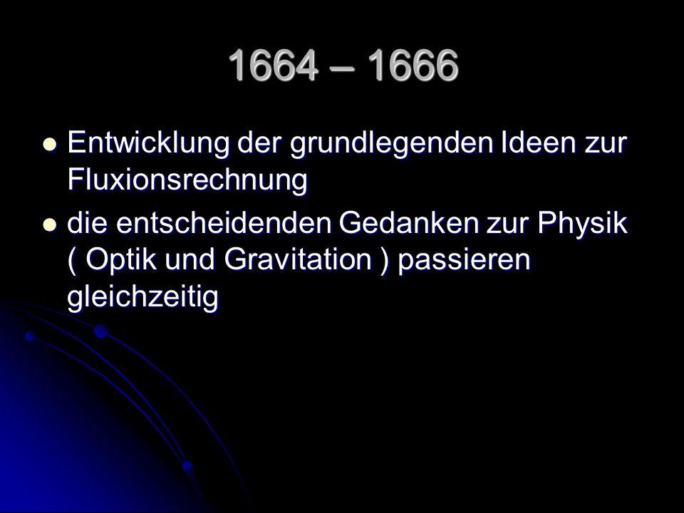 1664 – 1666 Entwicklung der grundlegenden Ideen zur Fluxionsrechnung