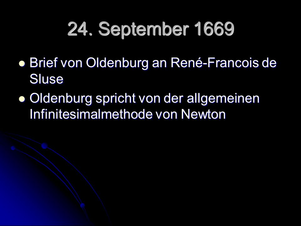 24. September 1669 Brief von Oldenburg an René-Francois de Sluse