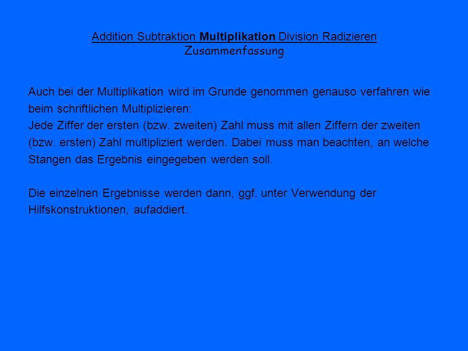 Addition Subtraktion Multiplikation Division Radizieren Zusammenfassung