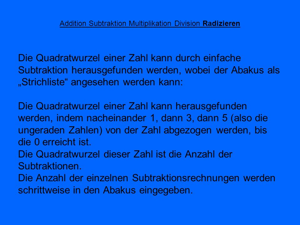 Addition Subtraktion Multiplikation Division Radizieren