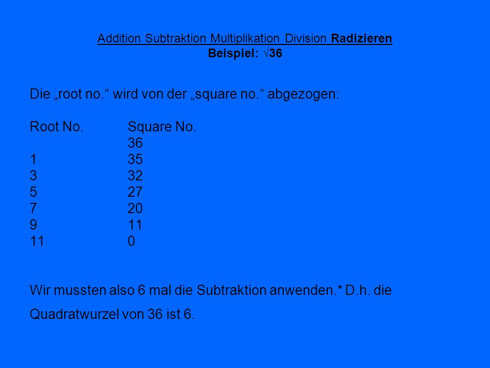Addition Subtraktion Multiplikation Division Radizieren Beispiel: √36