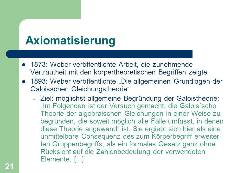 Axiomatisierung 1873: Weber veröffentlichte Arbeit, die zunehmende Vertrautheit mit den körpertheoretischen Begriffen zeigte.