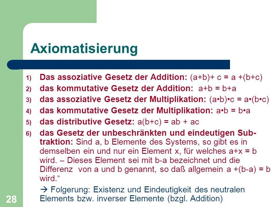 Axiomatisierung Das assoziative Gesetz der Addition: (a+b)+ c = a +(b+c) das kommutative Gesetz der Addition: a+b = b+a.