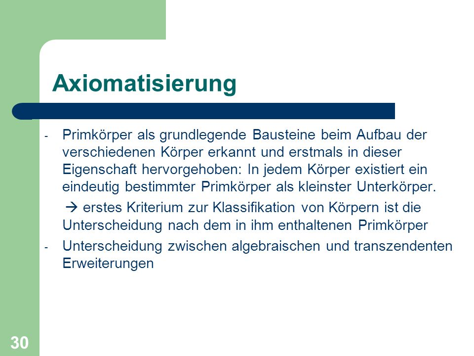 Axiomatisierung