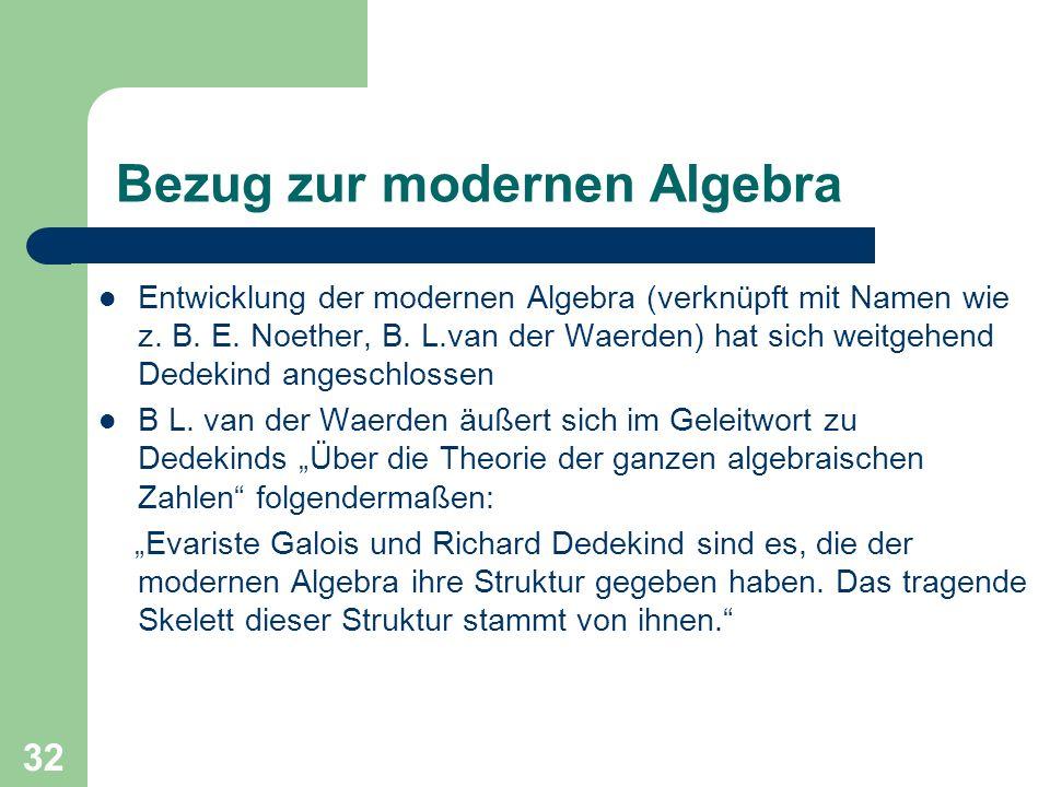 Bezug zur modernen Algebra