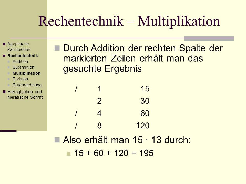 Rechentechnik – Multiplikation