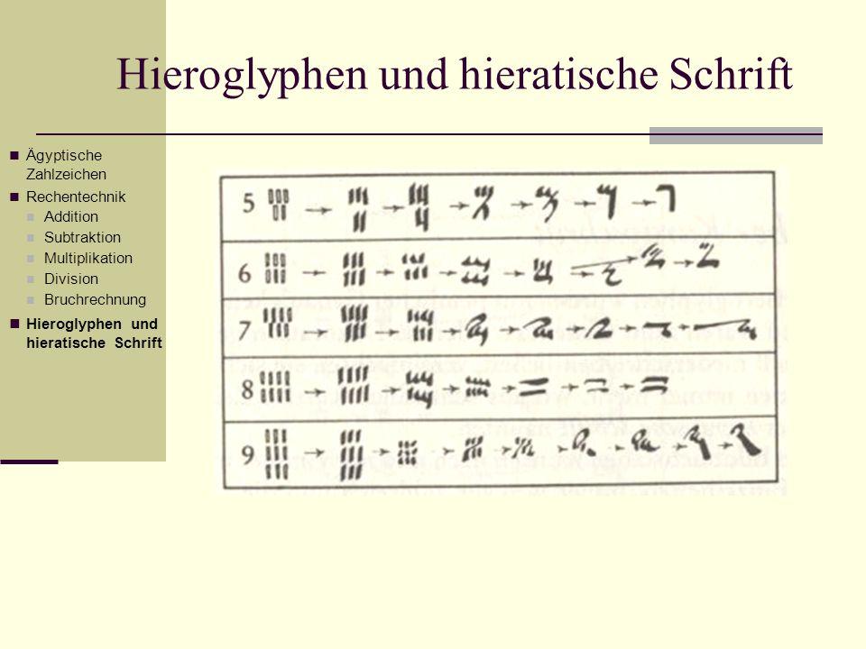 Hieroglyphen und hieratische Schrift