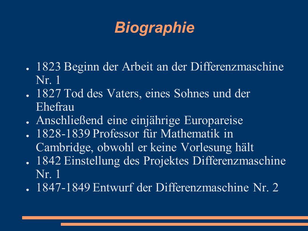 Biographie 1823 Beginn der Arbeit an der Differenzmaschine Nr. 1