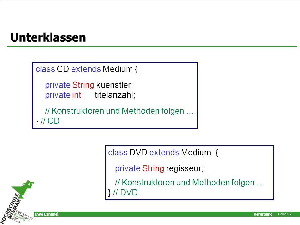 Unterklassen class CD extends Medium { private String kuenstler;