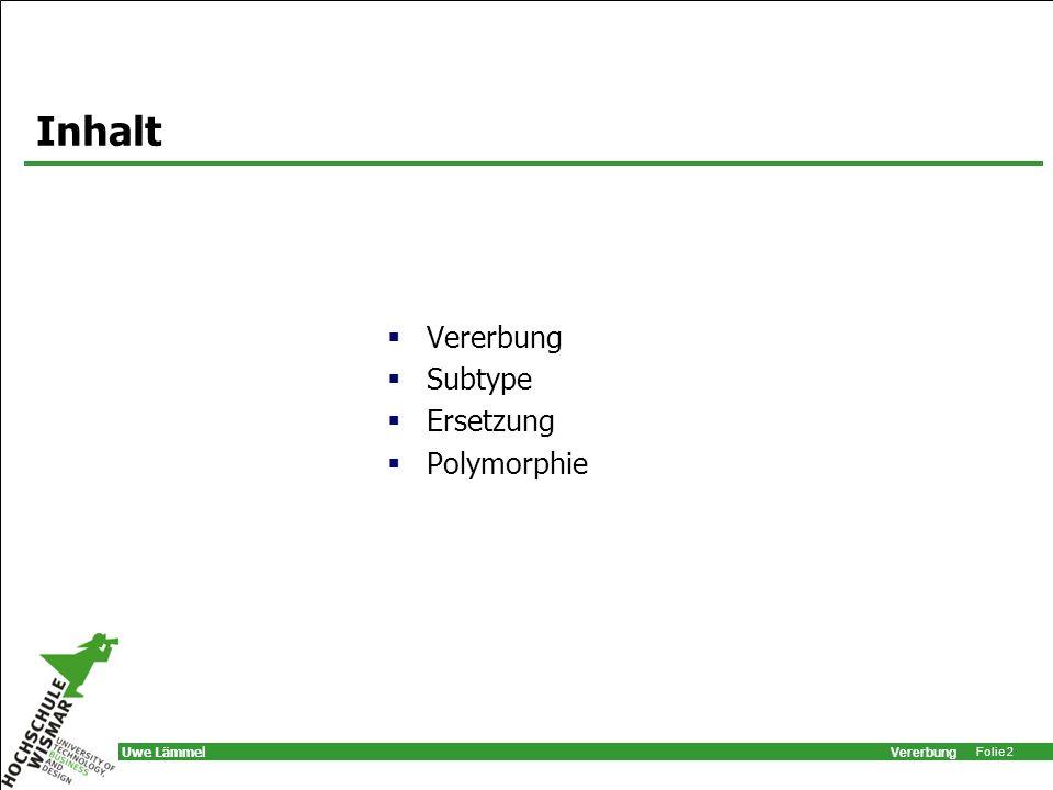 Inhalt Vererbung Subtype Ersetzung Polymorphie